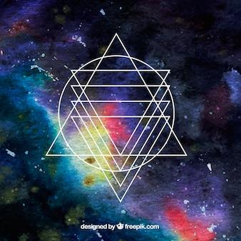 Aguarela espaço de fundo com triângulos e círculos