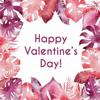 Aguarela feliz dia dos namorados fronteira com folhas tropicais rosa