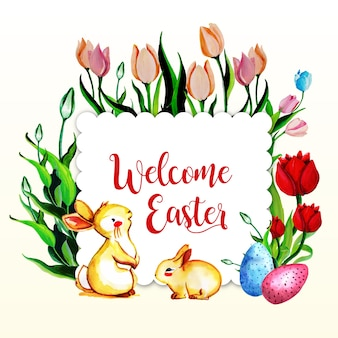 Aguarela floral bem-vinda frame de páscoa cartão multifunções