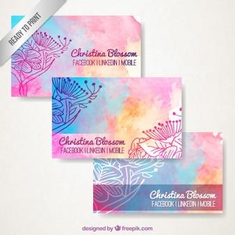 Aguarela floral cartões de visita