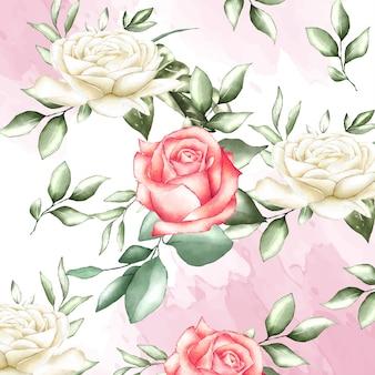 Aguarela floral e folhas