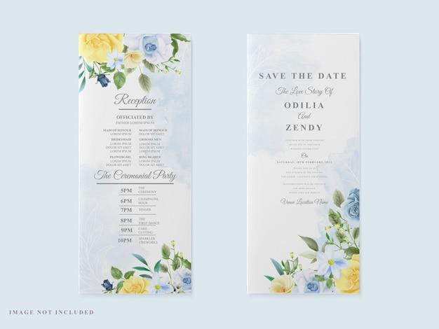 Aguarela floral elegante para cartão de casamento