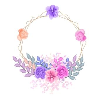 Aguarela floral frame vermelho rosa púrpura rosa