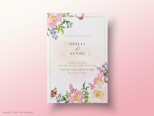Aguarela floral para cartões de casamento elegantes