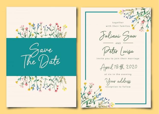 Aguarela floral selvagem do convite bonito do casamento