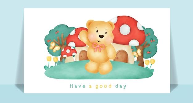 Aguarela fofo urso de pelúcia na floresta para cartão de felicitações