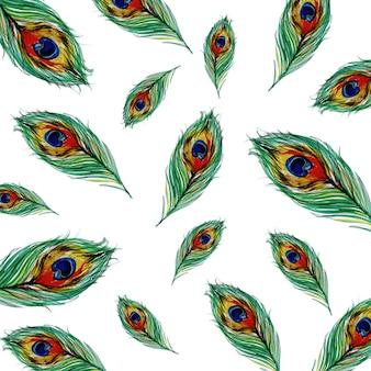 Aguarela fundo de penas de pavão