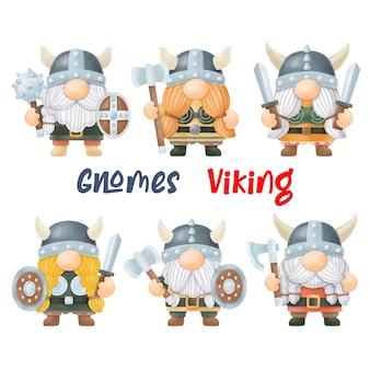 Aguarela gnomos viking, pintura digital