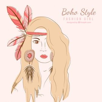 Aguarela mão menina moda estilo boho pintada