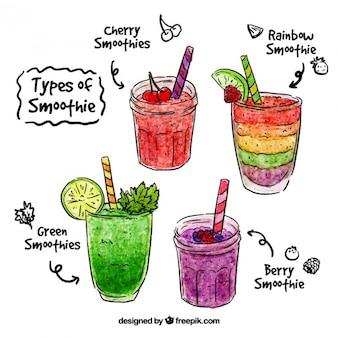 Aguarela mão smoothie de frutas desenhada