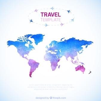 Aguarela modelo mapa de viagem