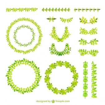 Aguarela molduras verdes