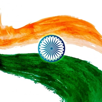 Aguarela ondulado projeto da bandeira indiana