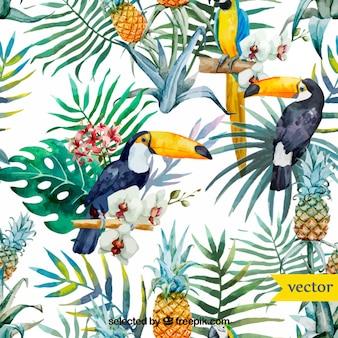 Aguarela pássaros tropicais e plantas