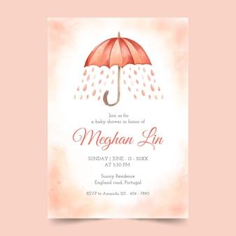 Aguarela pintada à mão chuva de amor convite para chá de bebê