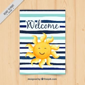 Aguarela pintado mão do cartão de boas-vindas