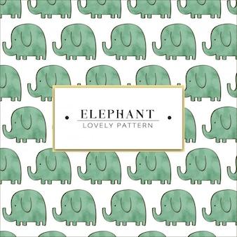 Aguarela pintado mão padrão de elefante