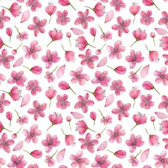 Aguarela primavera cerejeira flores padrão sem costura