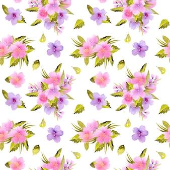 Aguarela rosa, flores roxas e bouquets de folhas verdes