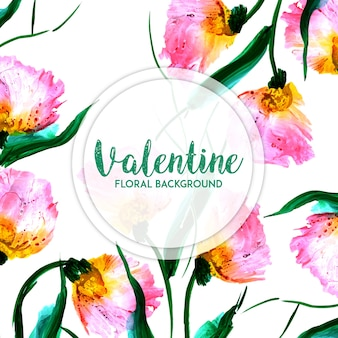 Aguarela valentine floral background