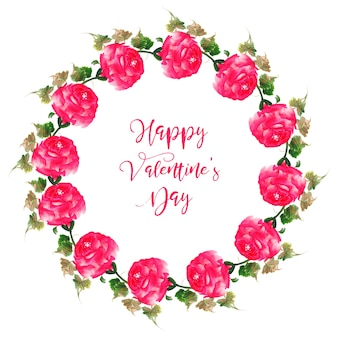Aguarela valentine floral wreath