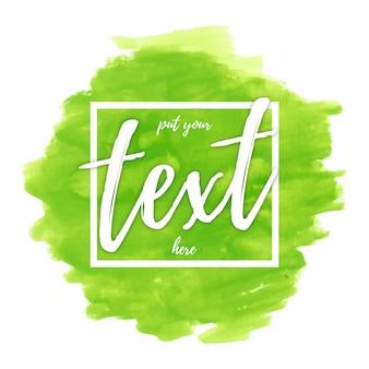 Aguarela verde com modelo de texto