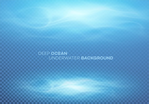 Águas profundas azuis e fundo natural abstrato do mar.