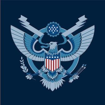 Águia americana com bandeiras dos eua e escudo