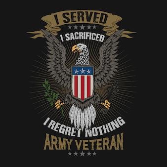 Águia americana emblema veterano ilustração vector