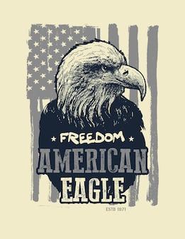 Águia americana. estampa de camiseta.