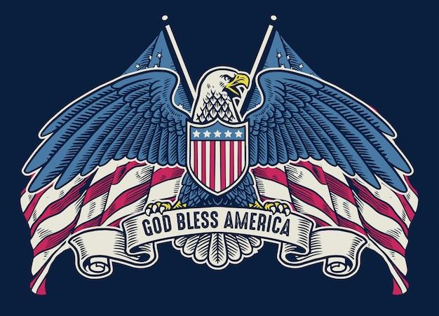 Águia americana handdrawn vintage com bandeira como pano de fundo