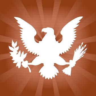 Águia americana sobre sunburst marrom