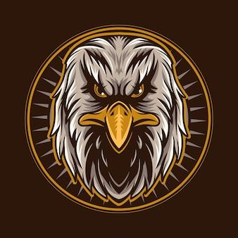 Águia cabeça emblema ilustração vetorial falcão