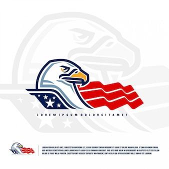 Águia cabeça logotipo ilustração premium