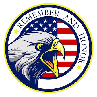 Águia careca americana gritando com o logotipo de bandeira do estados unidos