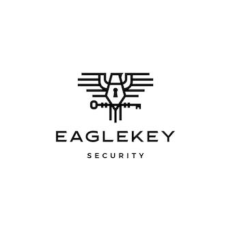 Águia chave pássaro logotipo icon ilustração