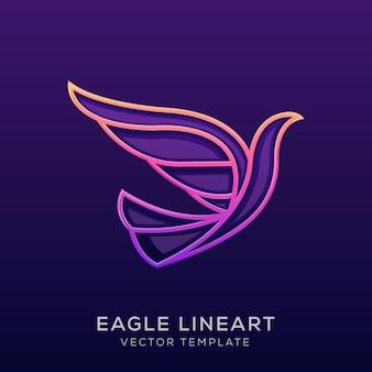 Águia colorida premium pássaro linha arte ilustração logotipo
