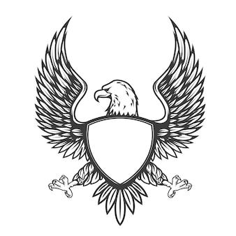 Águia com escudo em fundo branco. elemento para emblema, distintivo.