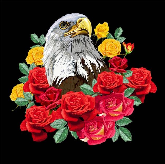 Águia com rosas em fundo preto
