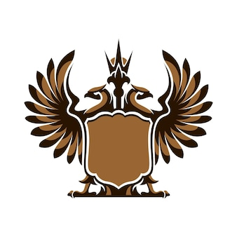 Águia de duas cabeças e escudo em fundo branco no vetor eps 8