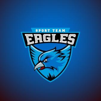 Águia em um escudo. modelo de emblema do esporte. liga ou logotipo da equipe.