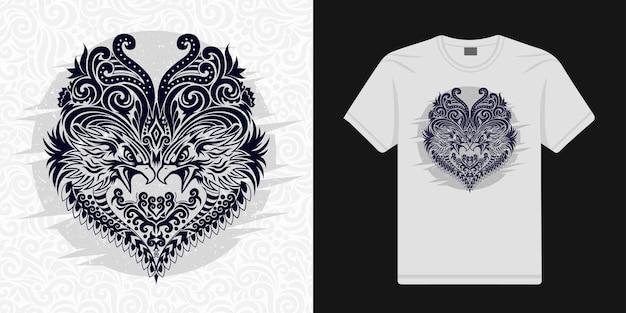 Águia estilizada floral em vetor étnico pode ser usada em camisetas