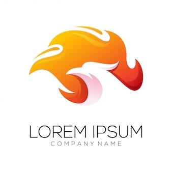 Águia fogo logo design vector