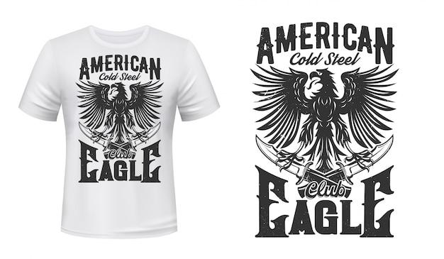 Águia gótica e punhais para design de t-shirt