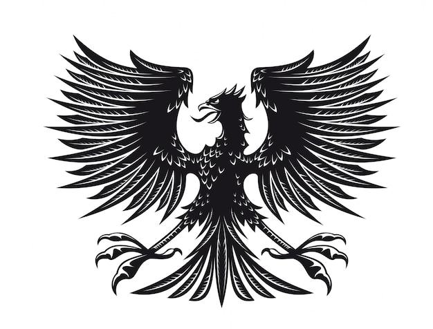 Águia grande e detalhada para design de heráldica ou tatuagem