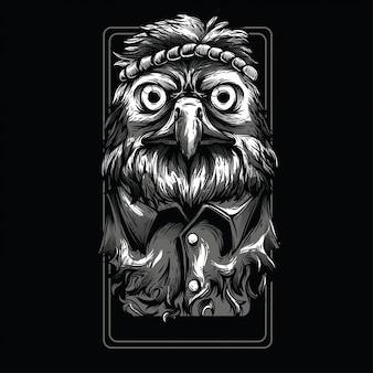 Águia hippie preto e branco ilustração