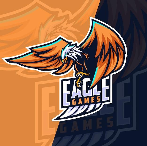 Águia jogos mascote esport design de logotipo
