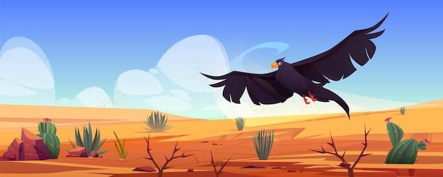 Águia negra sobre a paisagem do deserto, falcão ou falcão