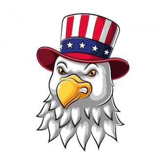 Águia usa um chapéu estampado americano