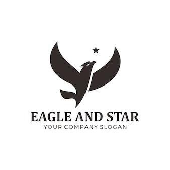 Águia voadora com design de logotipo estrela